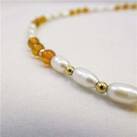 Freshwater and Amber Pearl Necklace