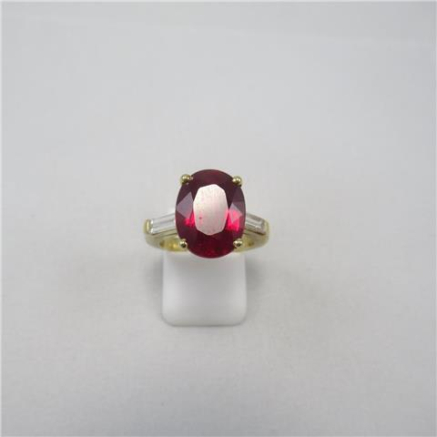 Synthetic Ruby and Diamond Ring