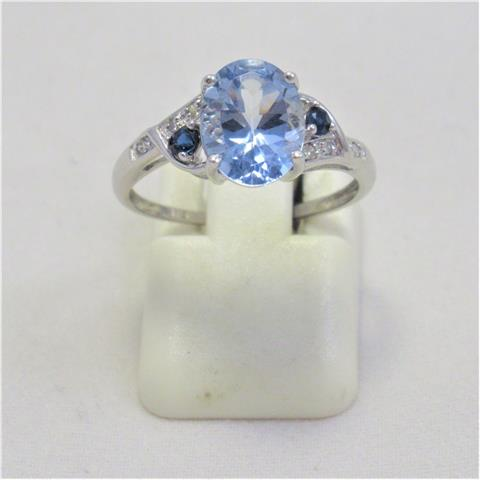 Blue Stone And Diamond Dress Ring