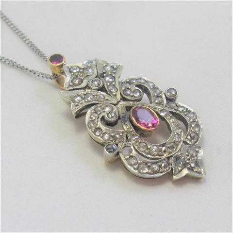 Pink Sapphire And Diamond Pendant And Chain