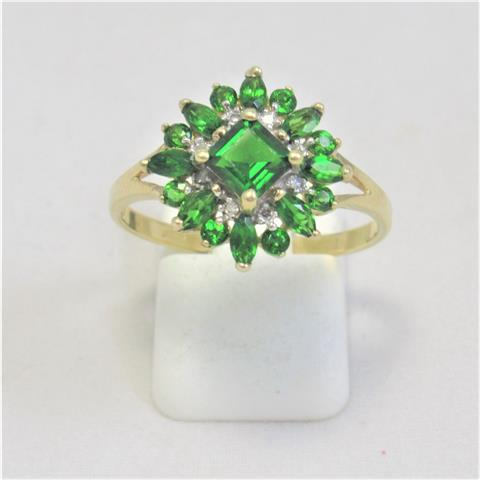Chrome Diopside Cluster Dress Ring