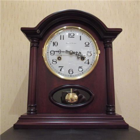 Hardwood 8 Day Mantel Clock of Far Eastern Manufacture with Visible Pendulum