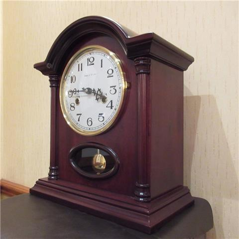 Hardwood 8 Day Mantle Clock of Far Eastern Manufacture with Visible Pendulum