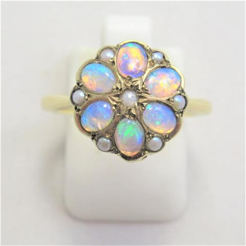 Opal & Pearl Cluster Ring