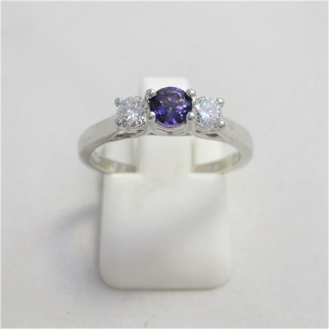 Amethyst & Diamond Trilogy Ring