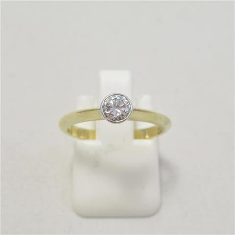 Rub Over Diamond Solitaire Ring