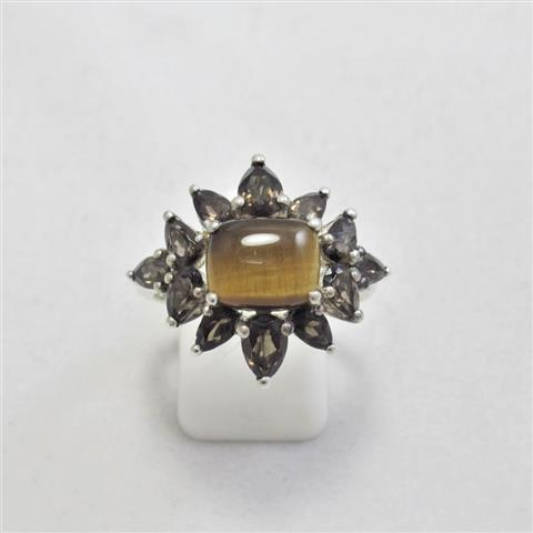 Tiger Eye Cluster Ring