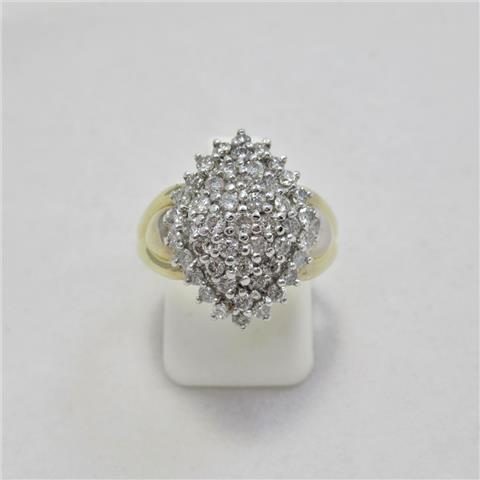 Diamond Cluster Boat Ring