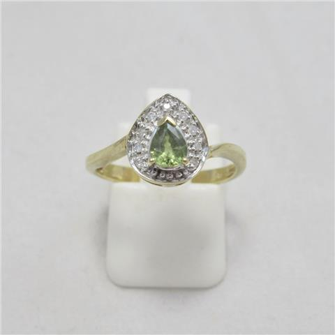 Peridot & Diamond Cluster Ring