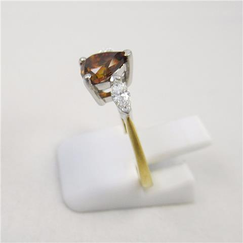 Champagne Pear Shaped Diamond Trilogy Ring